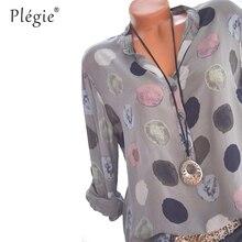 Plegie Womens Tops And Blouses 2018 Women Spring Blusas Shirt Dot Printed Long Sleeves Office Lady