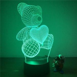 Милый плюшевый мишка Любовь Сердце 3D светильник светодиодный ночник фигурка 7 цветов Сенсорный Настольный декоративный светильник Оптическая иллюзия