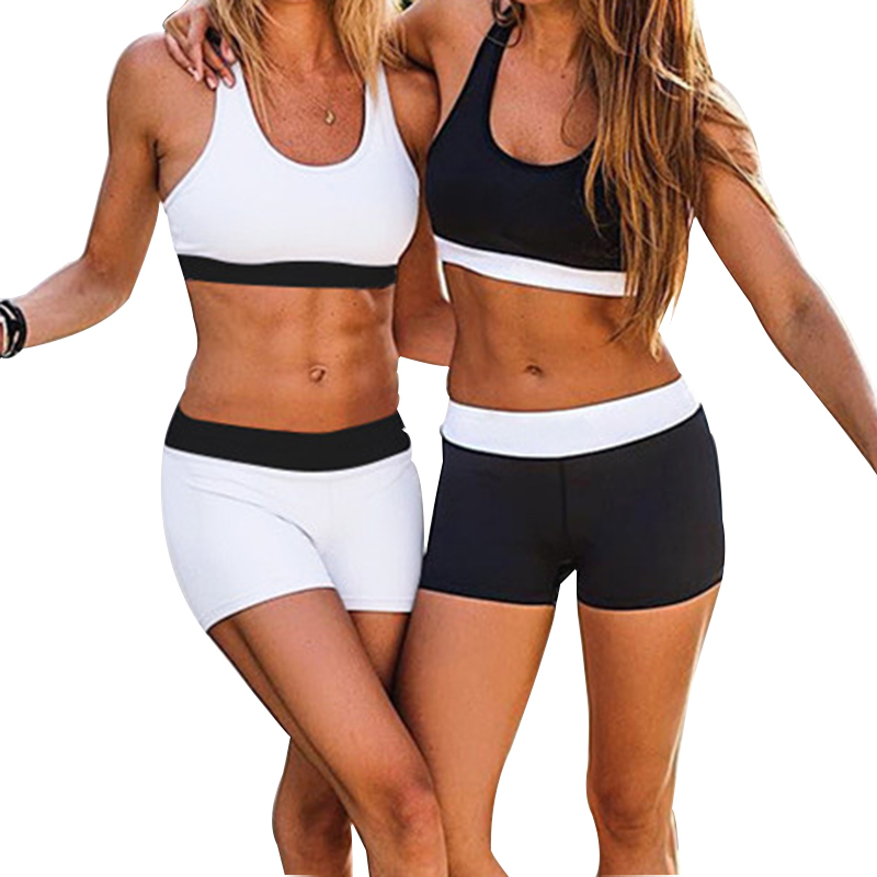 Women Sports Bra Shorts Set Elastic Leisure Black White Yoga Gym <font><b>Fitness</b></font> Female <font><b>Crop</b></font> <font><b>Top</b></font> Exercise Sportswear <font><b>Sexy</b></font> Jogging Suit 1 image