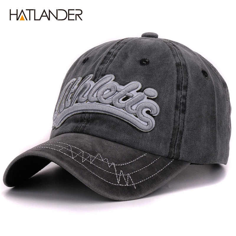 379c5db4fdb Hatlander vintage cotton washed baseball caps men casual sports hats gorras women  3D embroidery letter curved