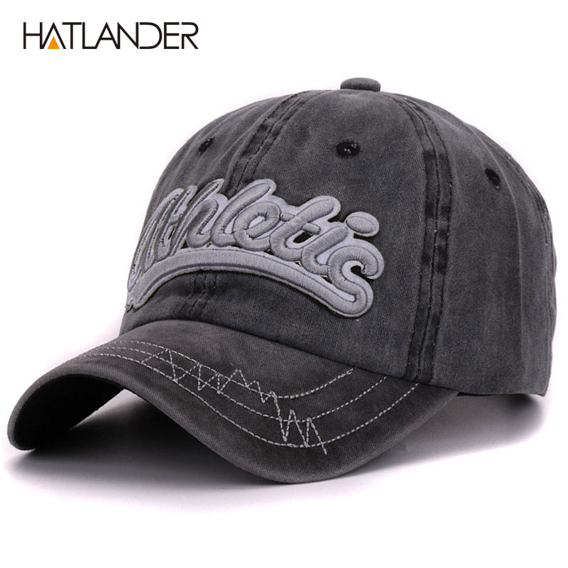Hatlander vintage cotton washed baseball caps men casual sports hats gorras women 3D embroidery letter curved dad hat cap unisex бейсболк мужские