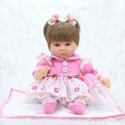 Boneca bebe reborn 40 centímetros Silicone Renascer Baby Doll crianças Playmate Presente Para As Meninas 16 Polegada Vivo Brinquedos Macios Do Bebê para Bouquets Boneca
