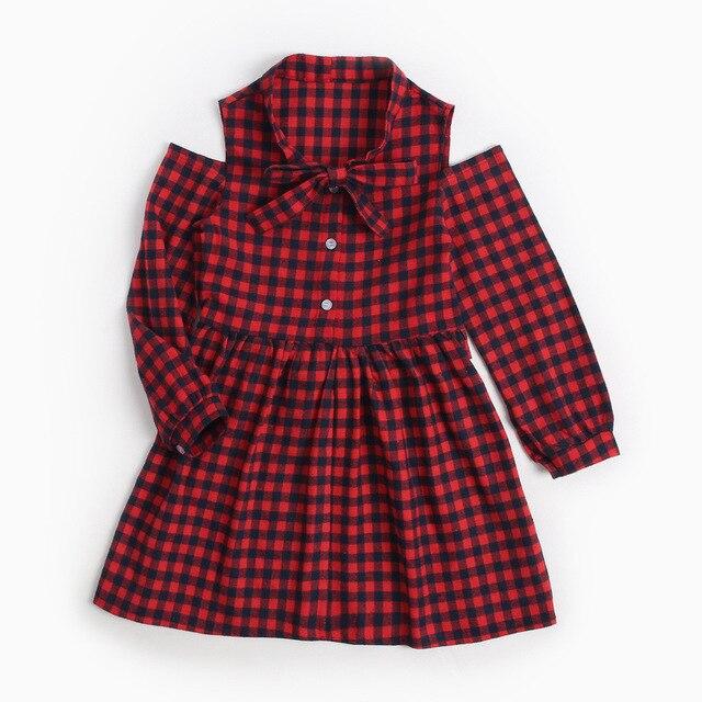 girls plaid lace dress baby princess dress tied knot cross border christmas dress red discount price - Girls Plaid Christmas Dress