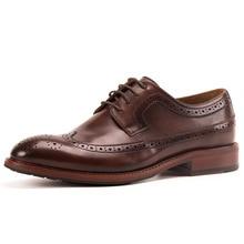 QYFCIOUFU Genuine Leather Casual Men Shoes Fashion Men Flats Round Toe Office Men Dress Shoes Vintage New Fashion Brogue Shoes