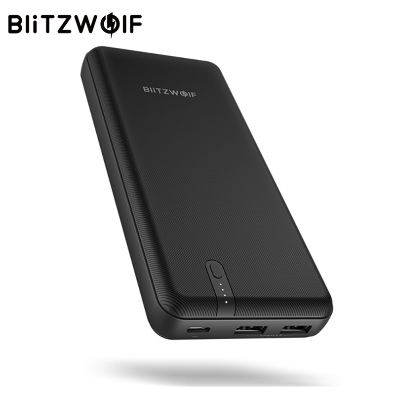BlitzWolf BW-P8 20000 mah 45 w Puissance Banque QC3.0 PD3.0 Double USB Type C Polymère Charge Rapide Noir Pour iPhone android Mobile Téléphone