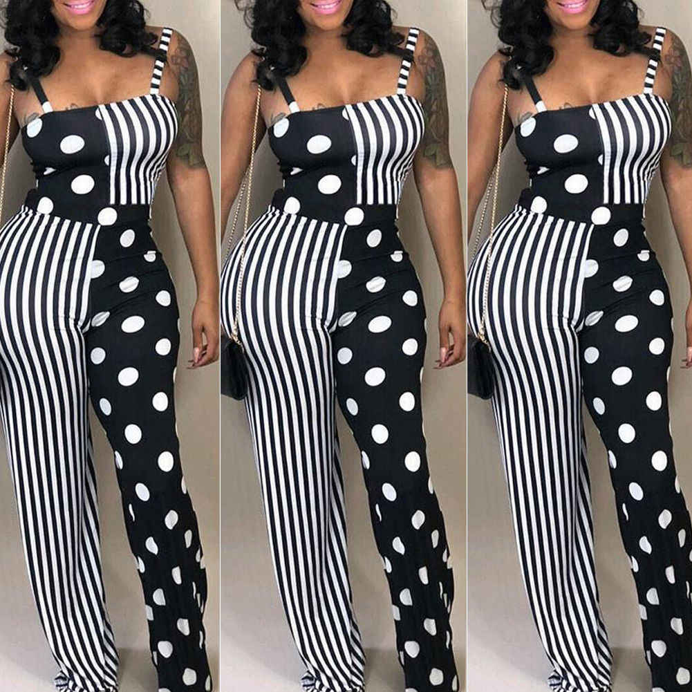 Frauen Fasion Dot Overall Bodycon Overall Clubwear Hosen Party Lange Hosen
