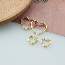 10 pcs korean simple alloy hollow love double piercing statement earrings for women material diy handmade jewelry accessories