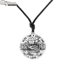 My shape HEART FOR A GOOD TIME BOT LONG message pendant antique silver woman necklace sea shark coconut tree traveling