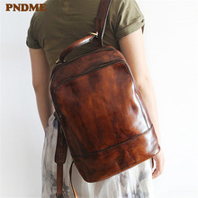 PNDME high quality vintage simple genuine leather ladies backpack large capacity first layer cowhide women's travel schoolbag