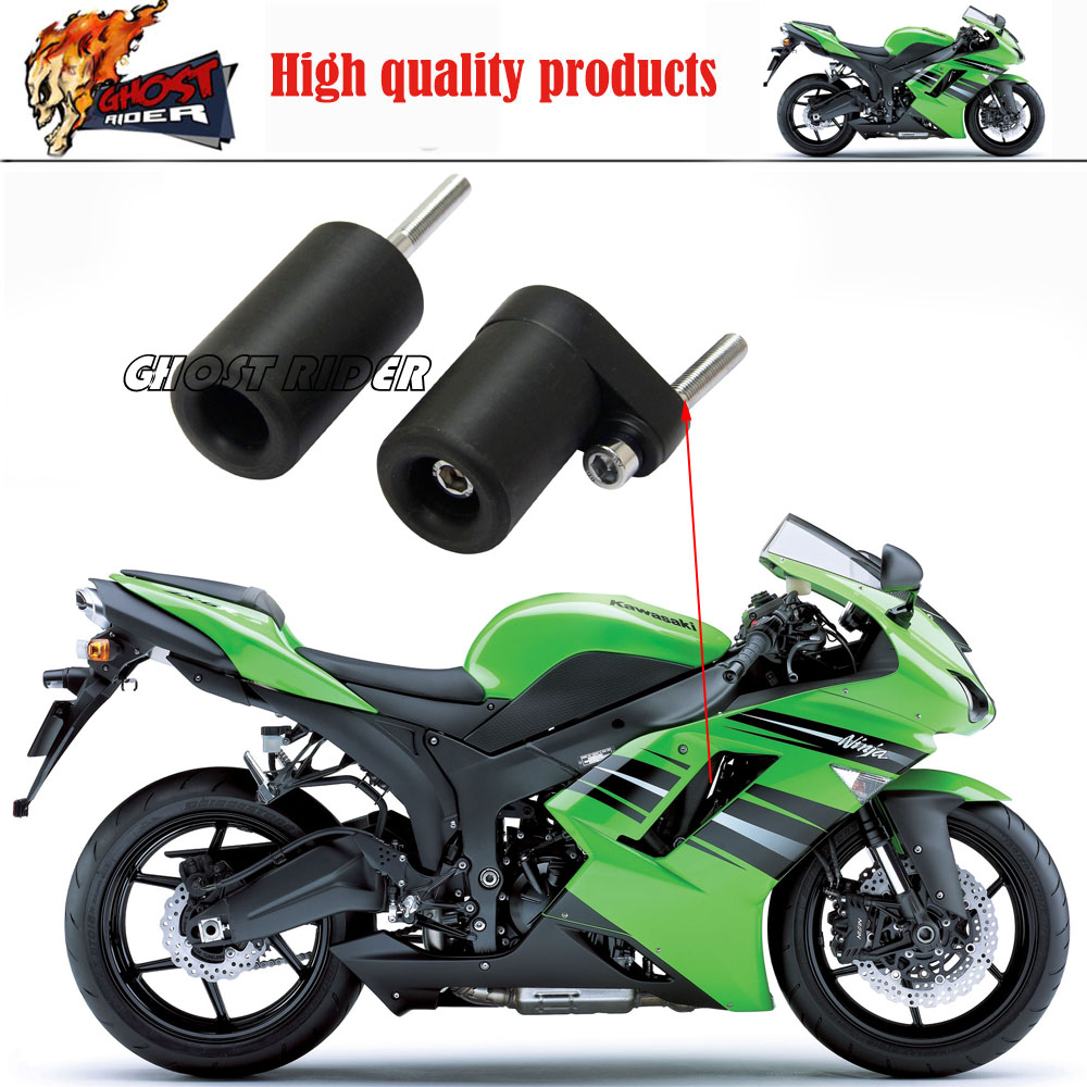 Motorcycle No Cut Frame Slider Protector For 2007 2008 Kawasaki Ninja Zx-6R Zx6R Black