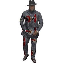 Kustom pribadi festival pakaian afrika pria mencetak puncak + celana tambal sulam pakaian african untuk pria kemeja lengan panjang dan celana set