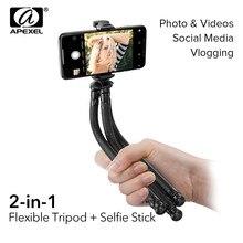 Trépied Flexible APEXEL 2 en 1 pieuvre + Selfie Stick trépied extérieur Portable avec télécommande pour téléphone reflex numériques pour GoPro Nikon