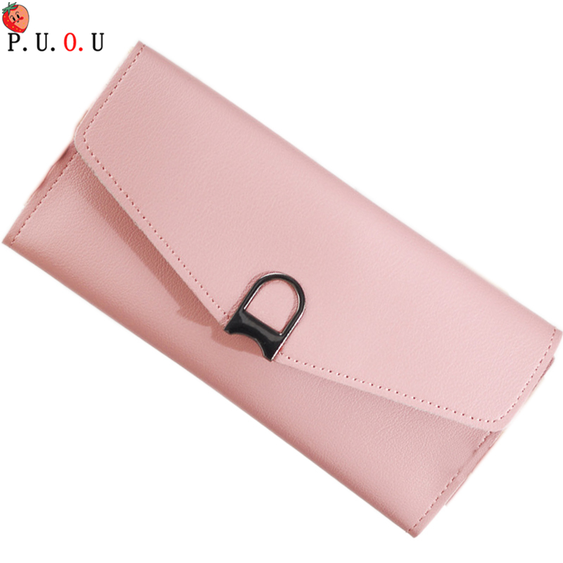 2019 Ladies 4 Color Pu Leather Long Wallet Women Brand Vintage Card Holder Coin Purse Women Zipper Hasp Purse Clutch Money New