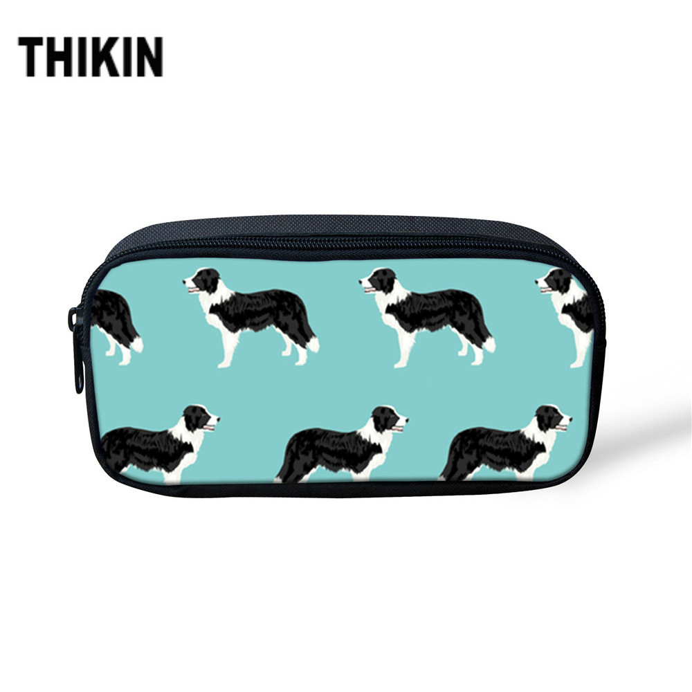 THIKIN Pencil Case For Children Cosmetic Bag Border Collie Pattern Printing Large Capacity Makeup Bag Back To School Supplies