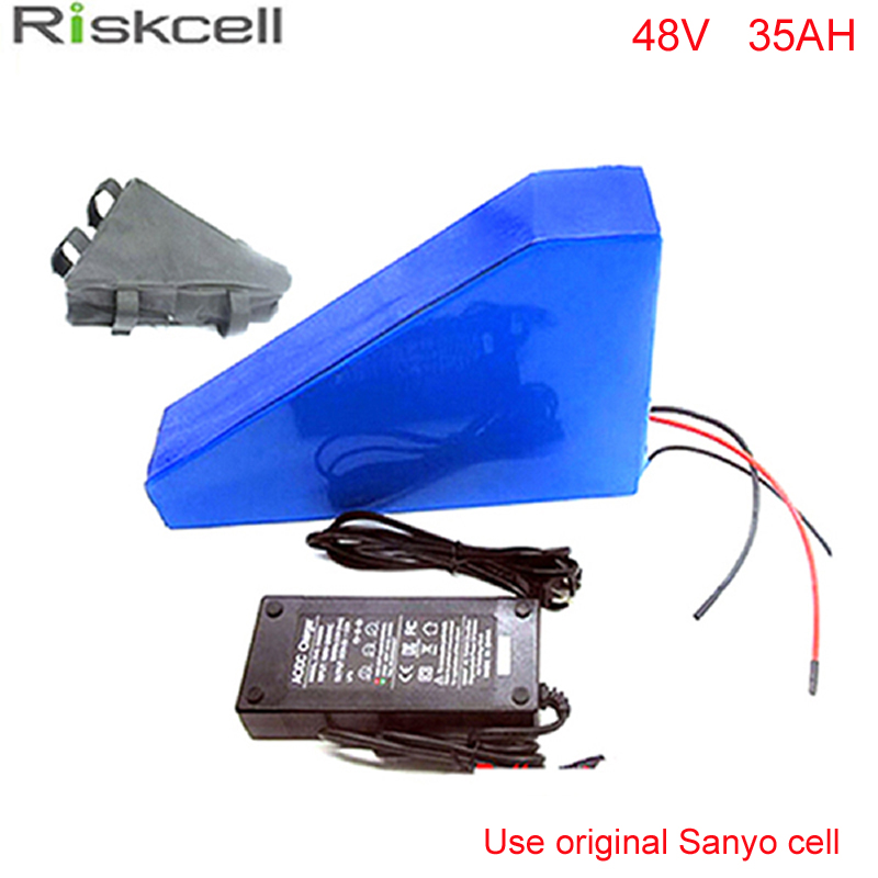 Triangle Lithium 48V 35Ah Battery Packs Li ion Battery 48V 35Ah for E Bike E Bicycle E Scooter with Case  For Sanyo GA3500 cell 48v 34ah triangle lithium battery 48v ebike battery 48v 1000w li ion battery pack for electric bicycle for lg 18650 cell