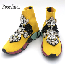 Rhinestone Shoes Sneakers Woman Crystal gemstone Ankle Boots Yellow Women Flats Womens WK95