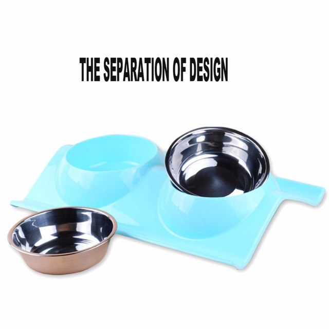 Leak-proof Double Side Stainless Steel Plastic Dog Bowl Feeder Water Food Container Pets Supplies Convenient Cleaning Pet Bowl
