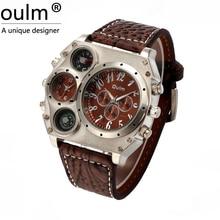 Oulm 1349 hombres Movimiento Dual Reloj Deportivo militar con Brújula y Termómetro decoración dial negro tamaño grande