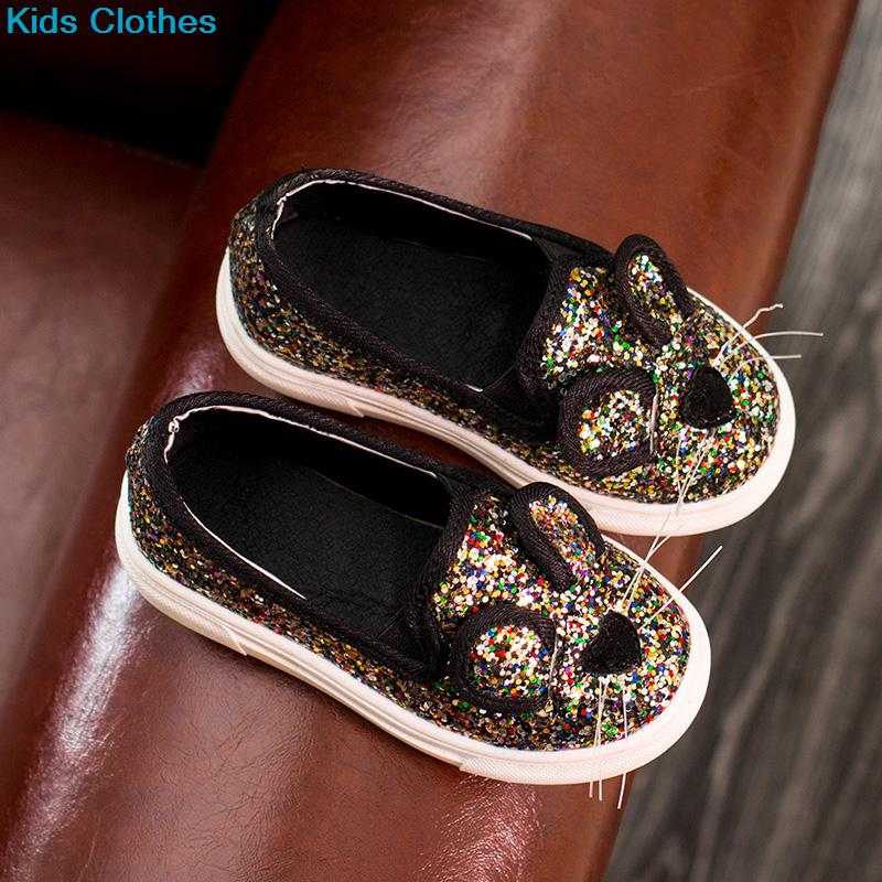 Casual Sequins baby Girl Shoes Cartoon Mouse Barnskor Vår sommar Brand Barn Boy Brand Glitter Fashion Sneaker