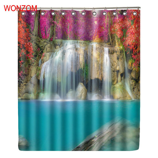 WONZOM Autumn Waterfall Shower Curtains with 12 Hooks For Bathroom ...