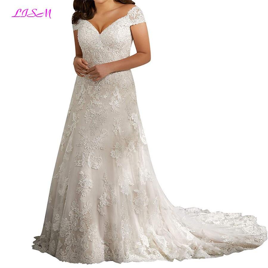 Plus Size Sweetheart Lace Applique Bridal Dress Off Shoulder Beaded Wedding Gowns A-Line Long Tulle Wedding Dress robe de mariee