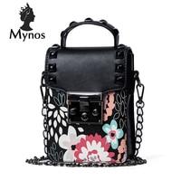 MYNOS Rivet Small Women Bag Flower Mini Crossbody Bag For Women Leather Travel Phone Bag SAC