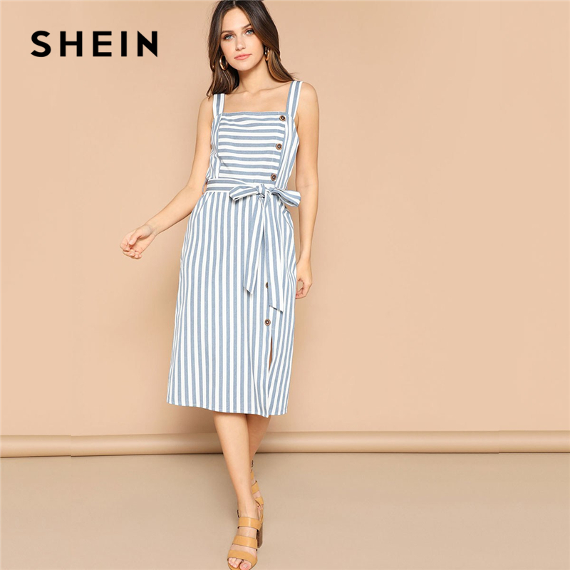 SHEIN Boho СИНИЙ подол с разрезом на пуговицах полосатый пояс Спагетти ремень летнее платье для женщин Pinafore миди прямые элегантные платья