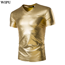 2017 New Fashion Men T-shirts Short Casual V-Neck Silver Gold T shirt Tops Tees Male Clothing Summer Men's Clothing