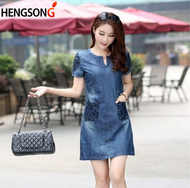 HENGSONG 2018 Summer Fashion Elegant Denim Dress Hot Sale Casual Loose Jean Dress Lady Plus Size Slim Short Sleeve Clothing