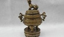 12 «Китайский Отмечены Народная Чистая Бронзовый Лаки Лев Kylin курильница Статуя
