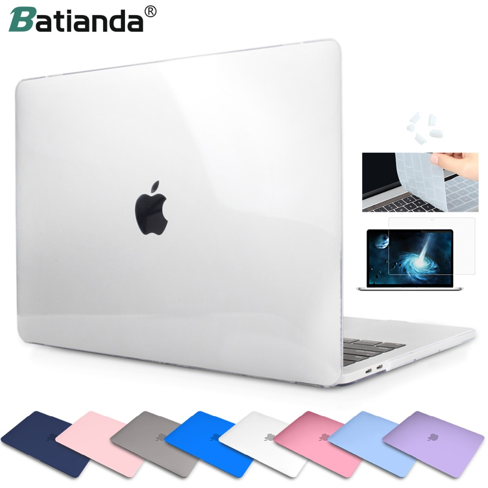 Crystal Frost Clear Hard Rubberized Laptop Case + Keyboard Cover For MacBook Pro Air 11 12 13 Pro 13 15 Retina Touch Bar ID 2019