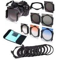 Cámara réflex digital y fotografía accesorios lentes filtro ND16 4 8 gradual gris naranja azul filtro set + adaptador del anillo para cokin