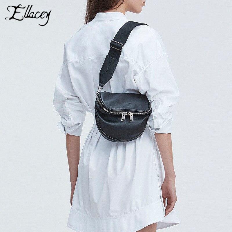 2019 nouveau femmes sac de poitrine en cuir de qualité haut tendance couche de peau de vache dames sac Messenger solide noir blanc Mini sac
