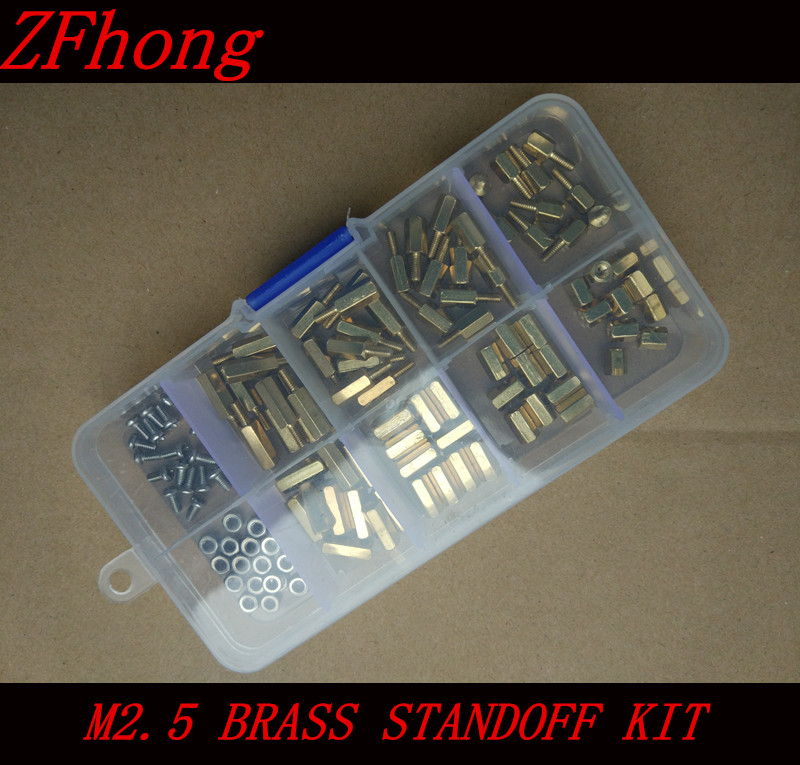 200pcs M2.5 (2.5mm) Brass Standoff Spacer M2.5 Male x Female Thread Long 6mm With Hex Nuts Assortment Kit m4 male m 25 30 35 40 45 50 55 60 mm x m4 6mm female brass standoff spacer copper hexagonal stud spacer hollow pillars