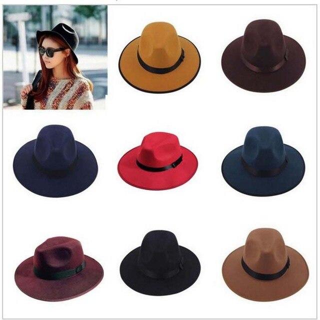 1 Unids Vintage Otoño Invierno Sombrero de Fieltro para Hombres Mujeres 7  Colores Calientan Topper Unisex bfe7b06e8aa
