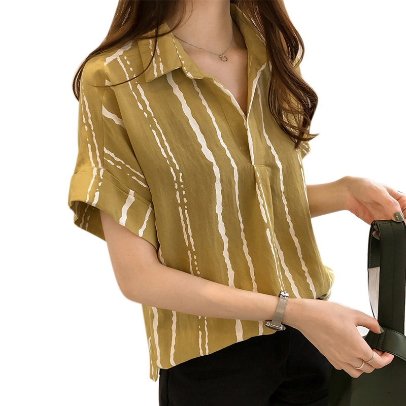 New Summer Women Blouse Strips V-Neck Short Batwing Sleeve Work Shirts Women Office Tops Striped Blouse For Business