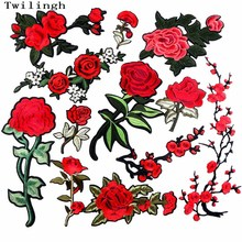 1 Piece Big Flower Patches Iron on 3D Embroidered Sequined Patch Red Rose Applique Sew On DIY Accessories Clothes