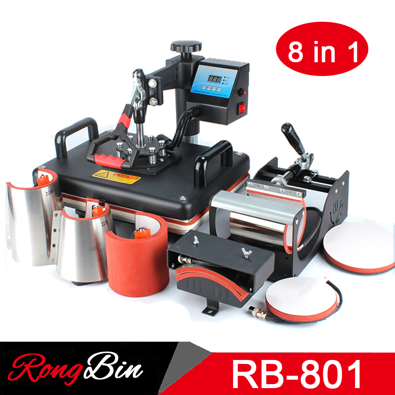 8 in 1 Combo Heat Press Machine T-shirt 12x15 Inch Digital Swing Heat Transfer Machine Sublimation Machine for Mug Hat Plate Cap new design single display 7 in 1 heat press machine mug cap plate tshirt heat press sublimation machine heat transfer machine