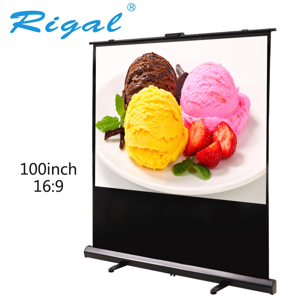 Rigal 100 inch 16:9 Portable Floor Pull Up Projection Screen KTV Meeting Outdoor Open-air Movies RD817 HD Projector Screen 100'' hd projector projection screen 300inch 16 9 format outdoor fast folding frame screens for camping music party