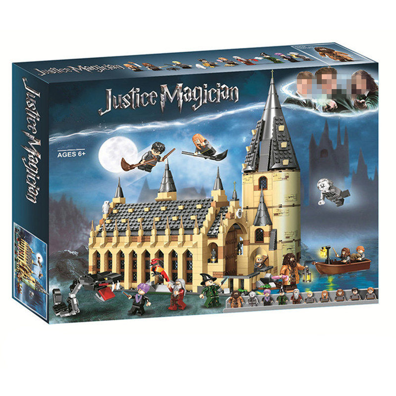 In stock fit Harry toy Potter legoing with figures The Hogwarts Great Wall Set Model Building Blocks House Kids Toys Christmas