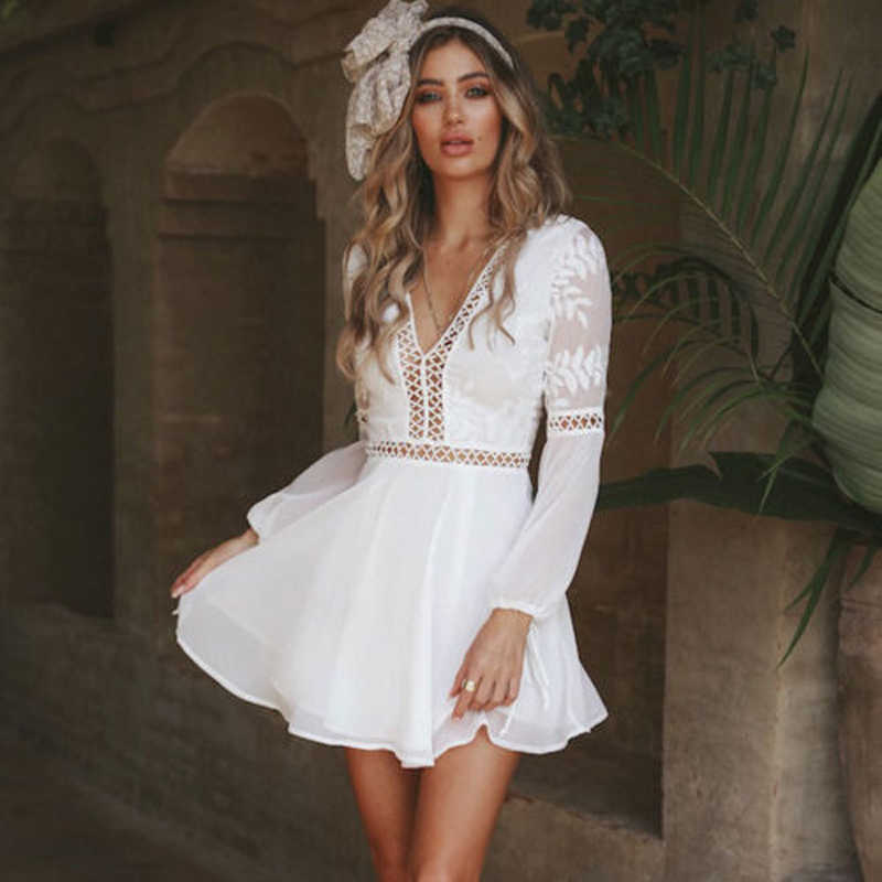 b8639d47a ... New Fashion Women Boho Long Sleeve Backless White Dress Evening Party  Summer Casual V-Neck