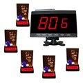 Sistema de llamada de servicio inalámbrico para cybercafe, restaurante de comida llamada, 5 unids tabla de llamadas pantalla del receptor APE9600 APE730 y 1 negro
