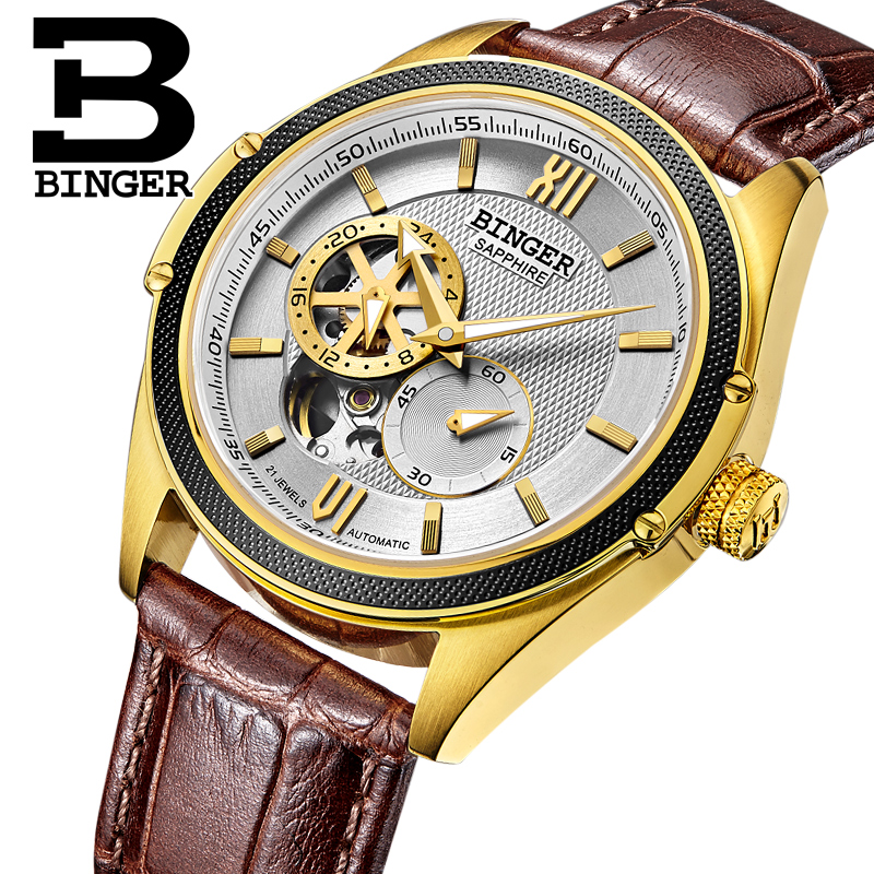 Switzerland Binger Watch Men Luxury Brand Miyota Automatic Mechanical Movement Watches Sapphire Waterproof reloj hombre B-1165-4 switzerland mechanical men watches binger luxury brand skeleton wrist waterproof watch men sapphire male reloj hombre b1175g 3