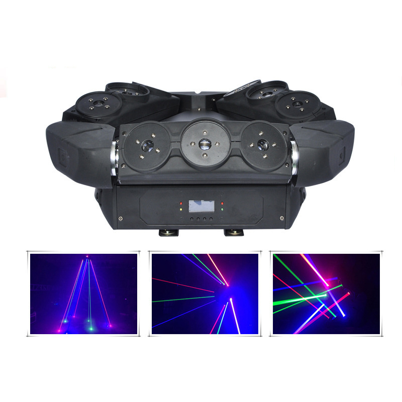 AUCD 3X3 Eyes RGB Moving Head Spider Beam Laser Light DMX Master-slave Stage Lighting for DJ Party Club Show DJ-109 9 moving head laser spider light green color 50mw 9 triangle spider moving head light laser dj light disco club event