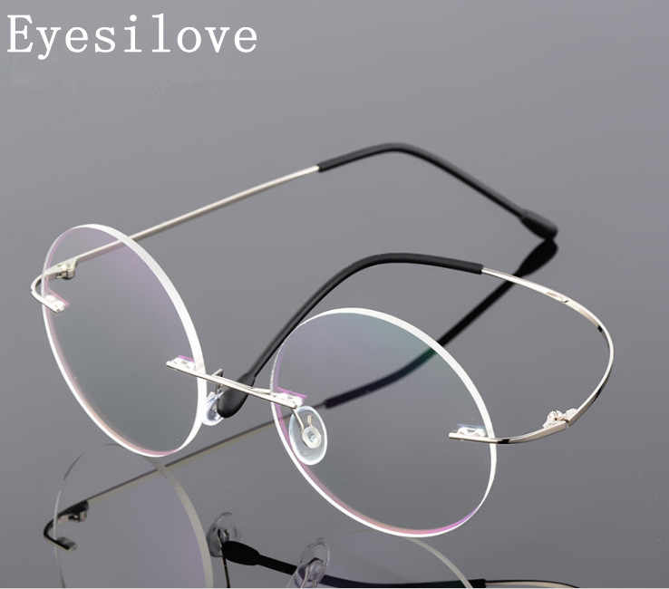 Eyesilove ultra-light rimless Optical frame men women Titanium Rimless eye glasses Frame round eyewear for prescription 9 colors
