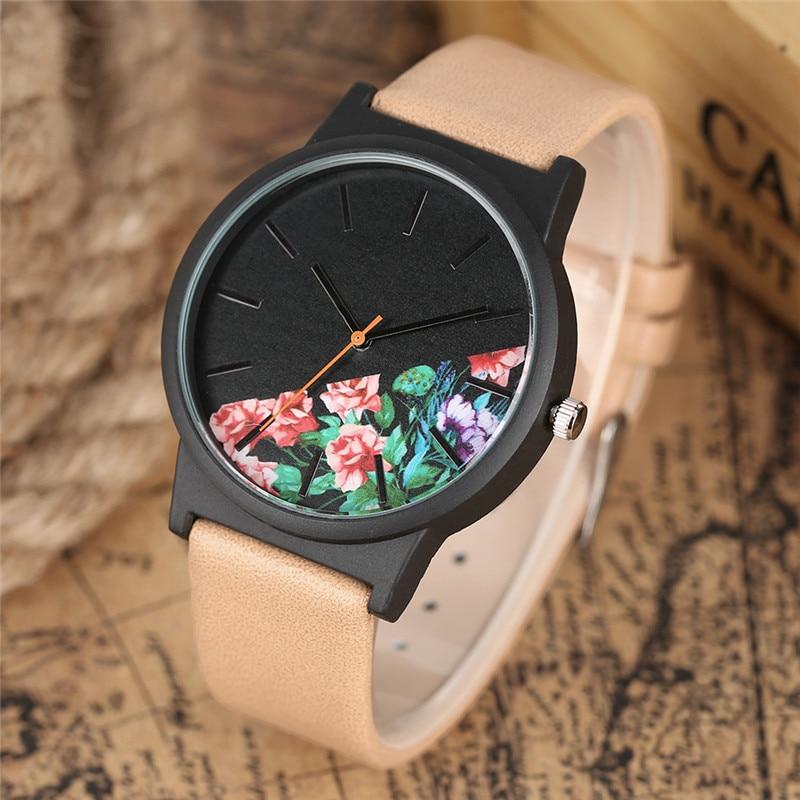 4fe8015de فريد الكوارتز الغابة الاستوائية تصميم المرأة ساعات عادية جلدية باند ...