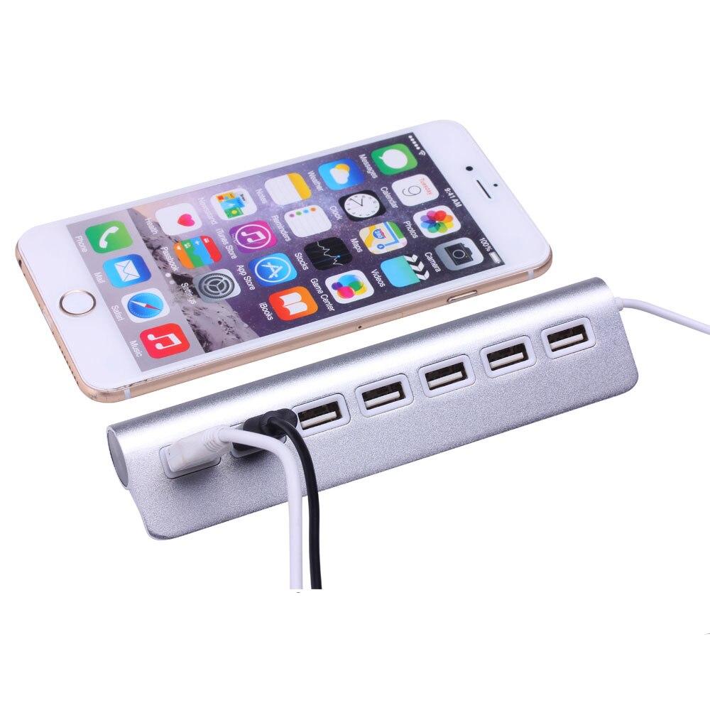 aluminum alloy High Quality Micro Mini Aluminum Alloy 7 Ports USB 2.0 Hub For Apple Mac PC Laptop Computer Peripherals Accessories (2)