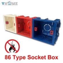 Vhome регулируемая Монтажная коробка внутренняя кассета 86 мм* 83 мм* 50 мм для 86 Тип переключатель и гнездо белый/красный цвет проводка задняя коробка