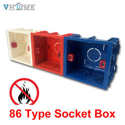 Vhome Adjustable Mounting Box Internal Cassette 86mm*83mm*50mm For 86 Type Switch and Socket White / Red Color Wiring Back Box