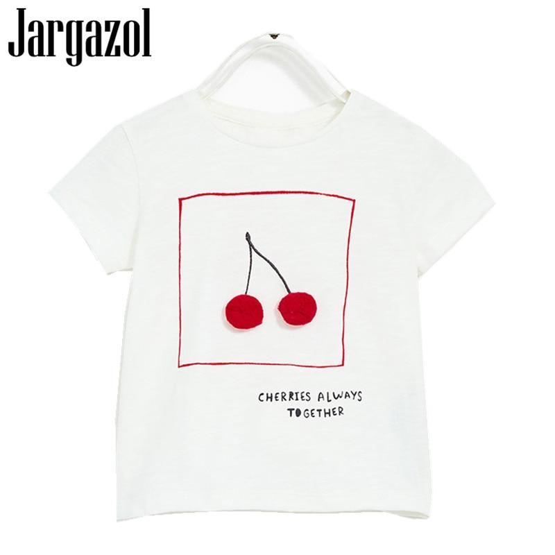 Jargazol Summer Top Kids Clothes Camisetas 2018 Brand Baby Girls Tshirt Letters Printing Short Sleeve T Shirt for Girl 24M-7T